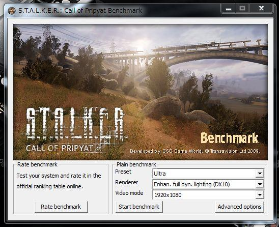 S.T.A.L.K.E.R Call of Pripyat benchmark UPされています