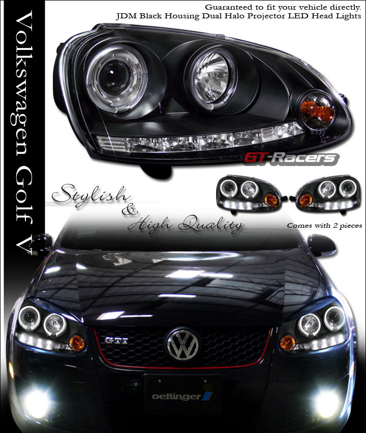 06-08 09 VW GOLF GTI MK5 HALO LED PROJECTOR HEAD LIGHTS
