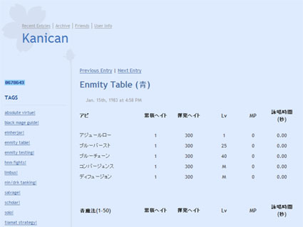 Kanican - Enmity Table (青)