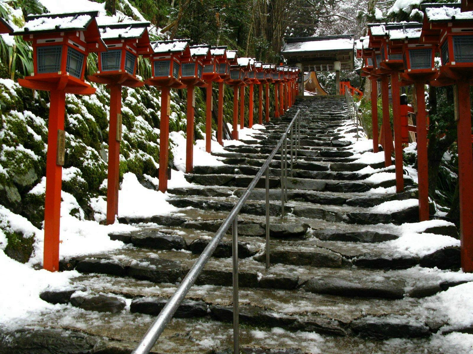 japanese temple snow stairs scenery wallpaper