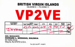 Newly arrived QSL from VP2VE