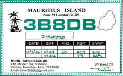 Newly arrived QSL from 3B8DB