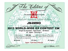 Certificate winners of the 2013 CQ WWCW Contest