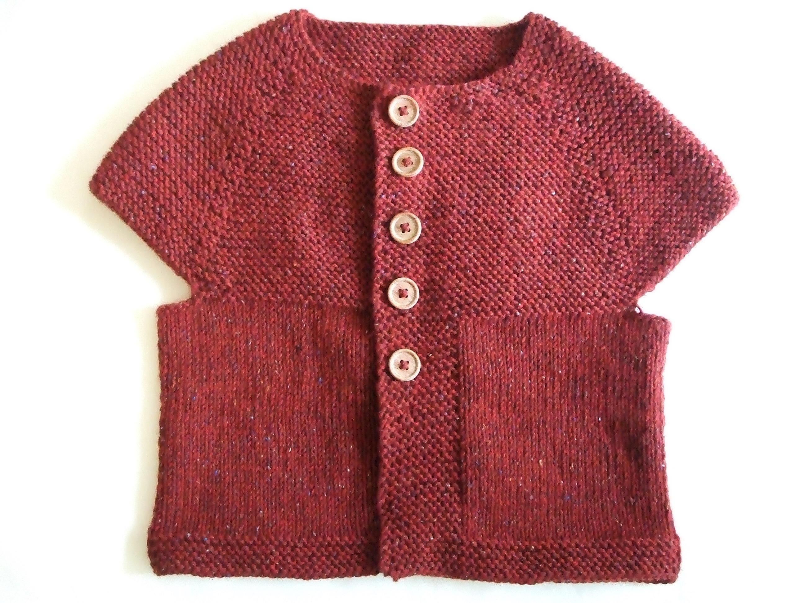 top down garter stitch yoke vest 完成