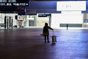 AFP123A passenger stands in the arrivals hall at the near-deserted Wuhan train station.jpg