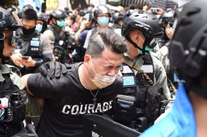 Democratic Party lawmaker Andrew Wan is arrested in Causeway Bay on July Inmediahk.net.jpg