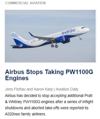 Airbus Stops Taking PW1100G Engines