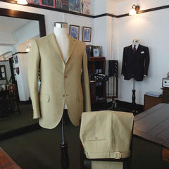 Olive Irish Linen Sack Suit