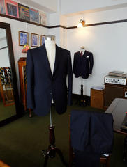 Dark Navy Suit & Charcoal Grey Stripe Vested Suit