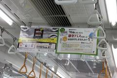 The hanging advertisement 敬老パス
