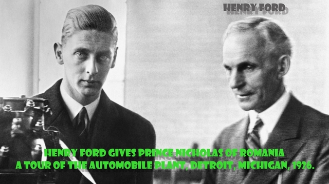 Henry Ford gives Prince Nicholas of Romania a tour of the automobile plant, Detroit, MIchigan, 1926..jpg